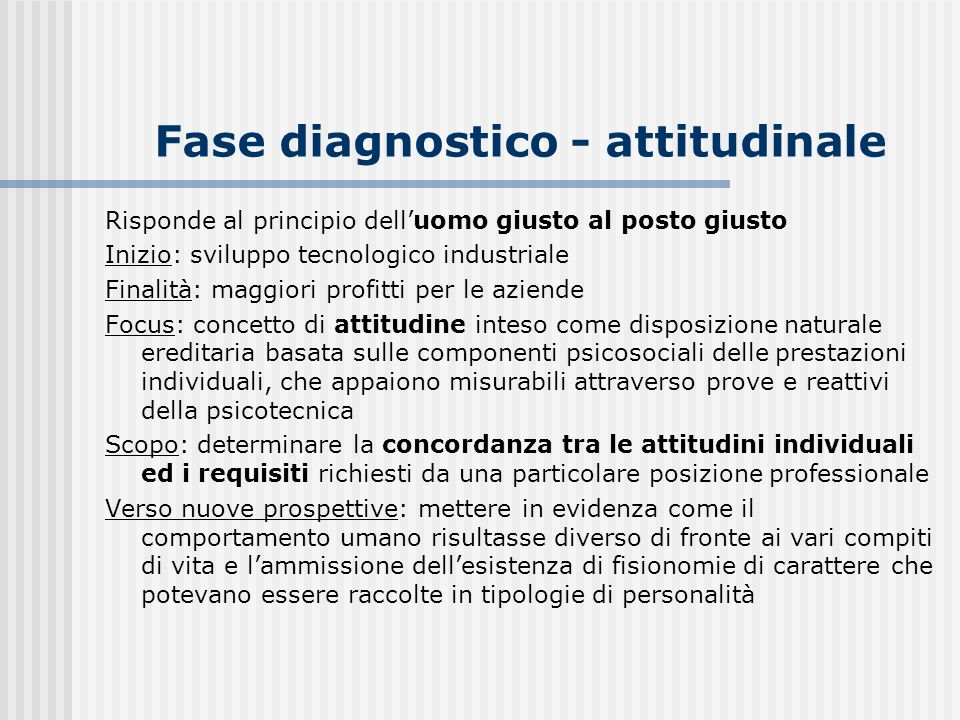 Fase diagnostico - attitudinale