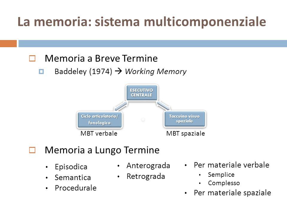La memoria: sistema multicomponenziale
