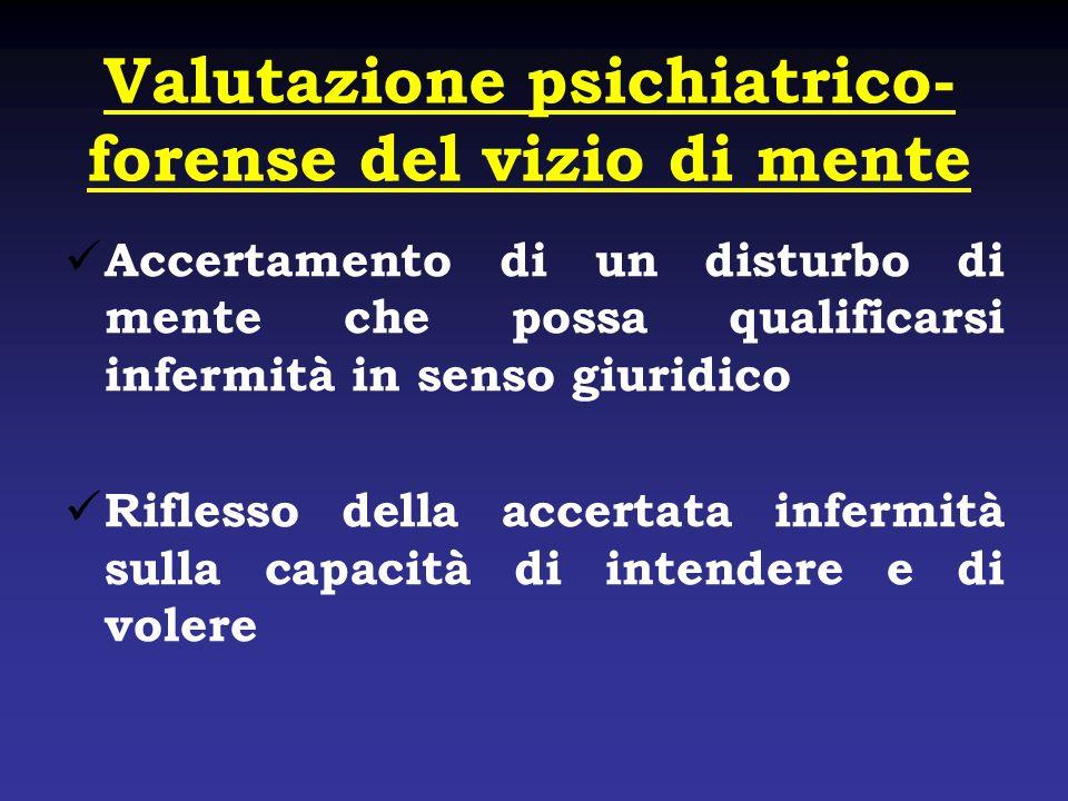 Valutazione psichiatrico-forense del vizio di mente