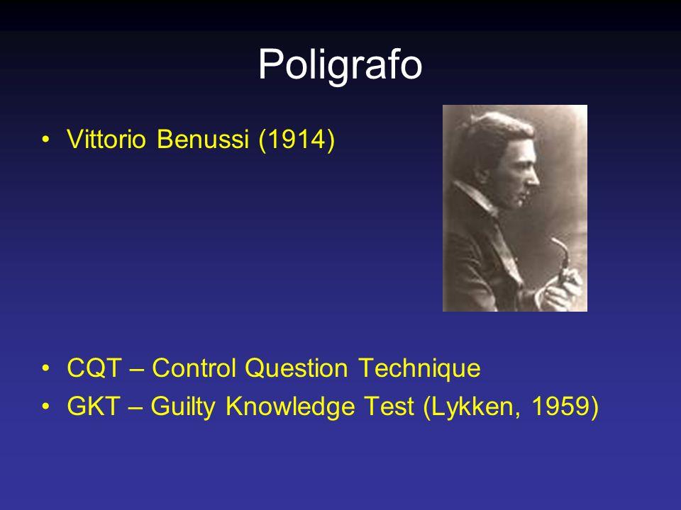 Poligrafo Vittorio Benussi (1914) CQT – Control Question Technique