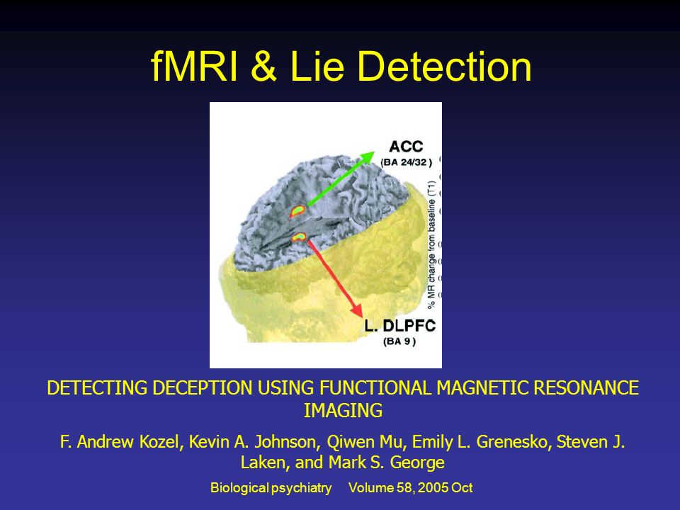 fMRI & Lie DetectionDETECTING DECEPTION USING FUNCTIONAL MAGNETIC RESONANCE IMAGING.