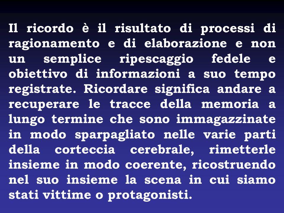 Il ricordo è il risultato di processi di ragionamento e di elaborazione e non un semplice ripescaggio fedele e obiettivo di informazioni a suo tempo registrate.