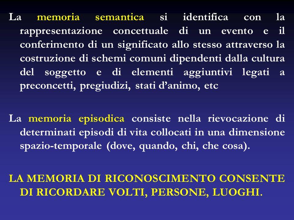La memoria semantica si identifica con la rappresentazione concettuale di un evento e il conferimento di un significato allo stesso attraverso la costruzione di schemi comuni dipendenti dalla cultura del soggetto e di elementi aggiuntivi legati a preconcetti, pregiudizi, stati d'animo, etc