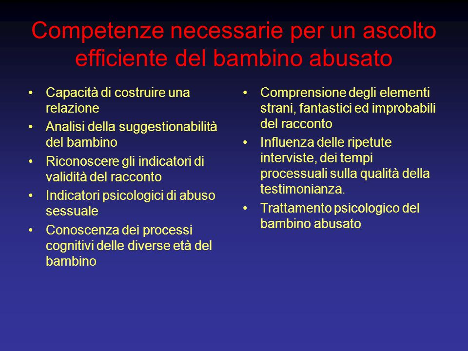 Competenze necessarie per un ascolto efficiente del bambino abusato