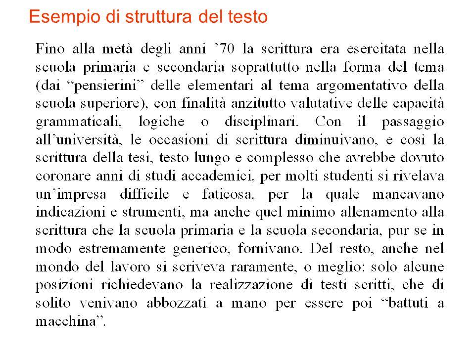 Esempio di struttura del testo
