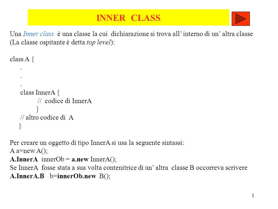 INNER CLASS Una Inner class è una classe la cui dichiarazione si trova all' interno di un' altra classe.