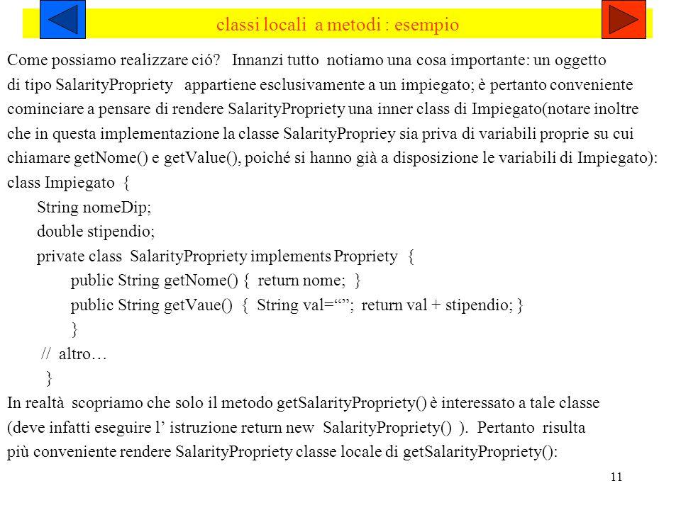 classi locali a metodi : esempio