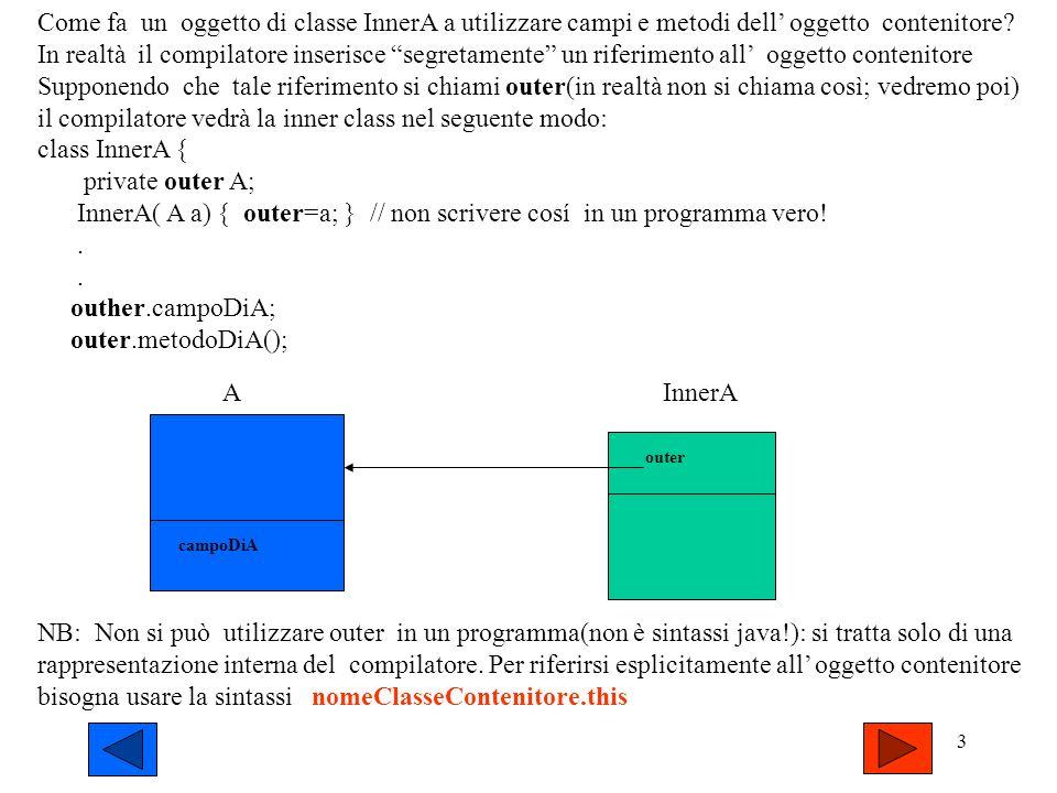 il compilatore vedrà la inner class nel seguente modo: class InnerA {
