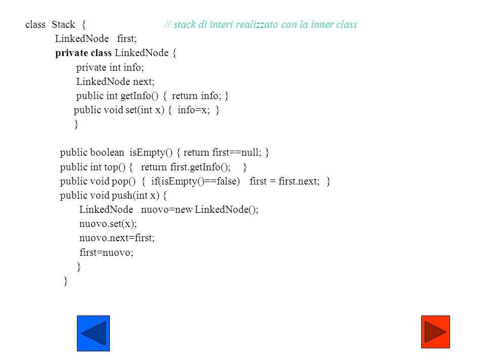 class Stack { // stack di interi realizzato con la inner class