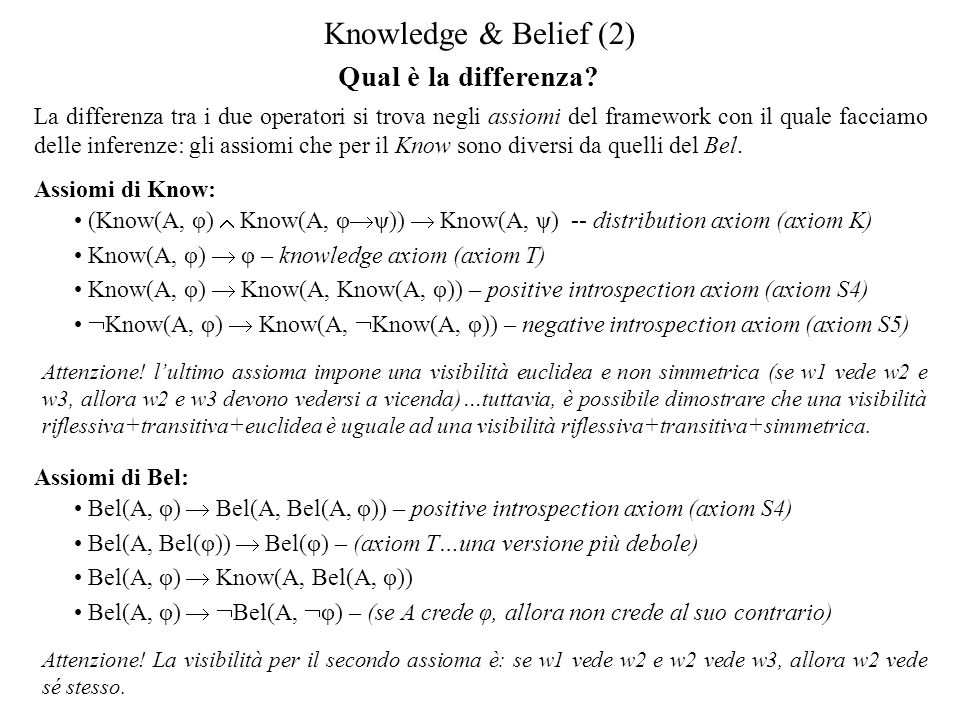 Knowledge & Belief (2) Qual è la differenza