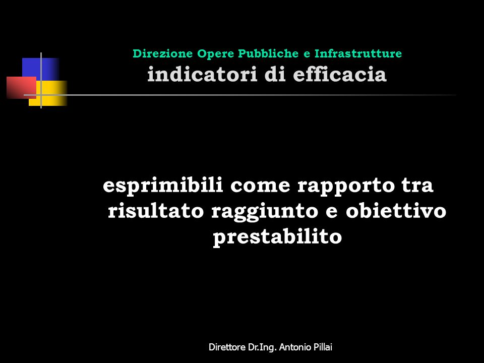 Direzione Opere Pubbliche e Infrastrutture indicatori di efficacia