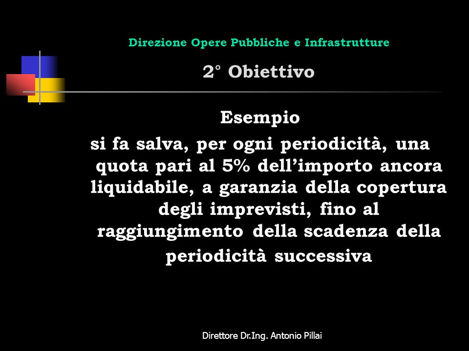Direzione Opere Pubbliche e Infrastrutture 2° Obiettivo