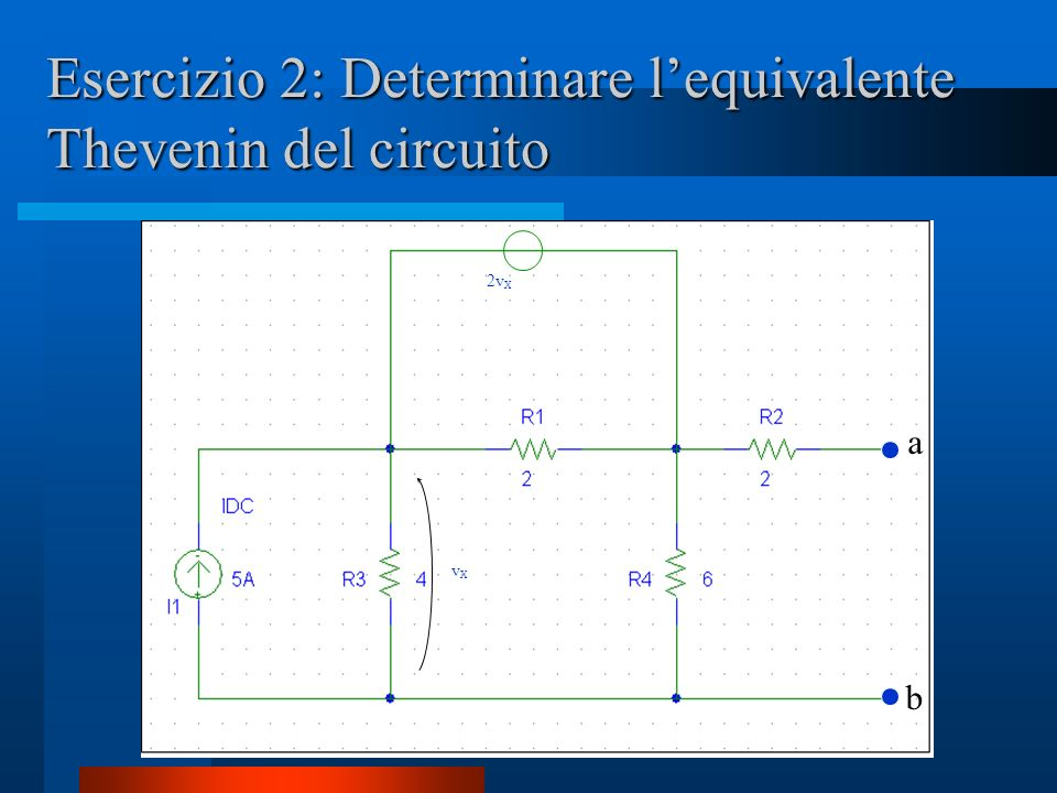 Esercizio 2: Determinare l'equivalente Thevenin del circuito