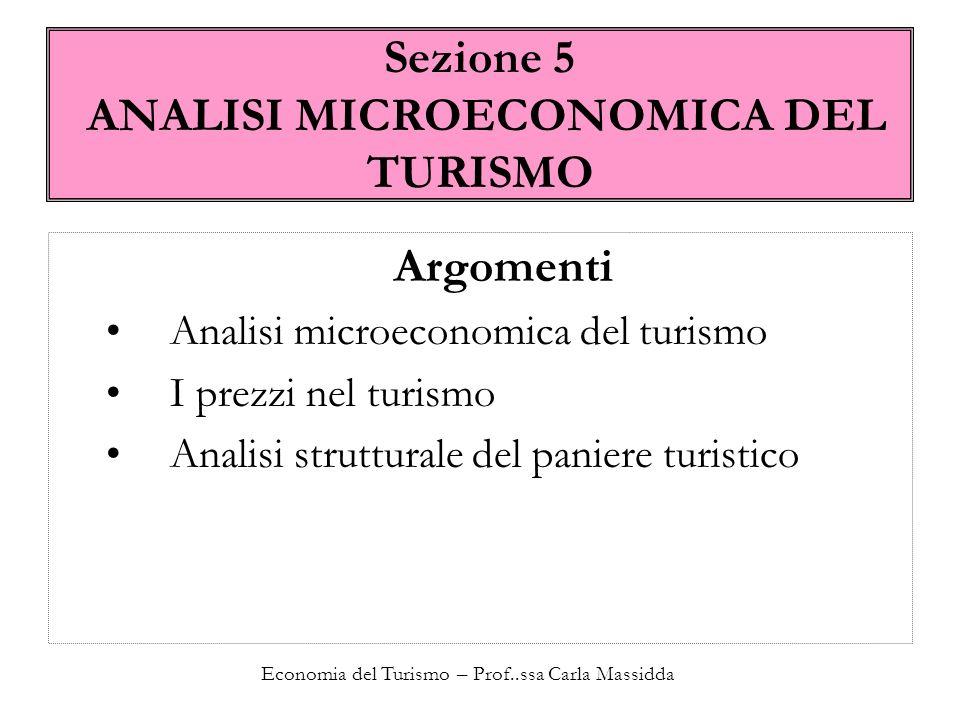 Sezione 5 ANALISI MICROECONOMICA DEL TURISMO
