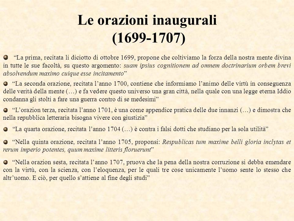 Le orazioni inaugurali (1699-1707)