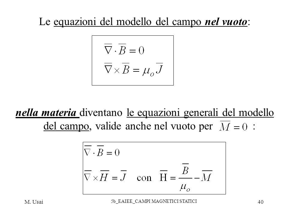 Le equazioni del modello del campo nel vuoto: