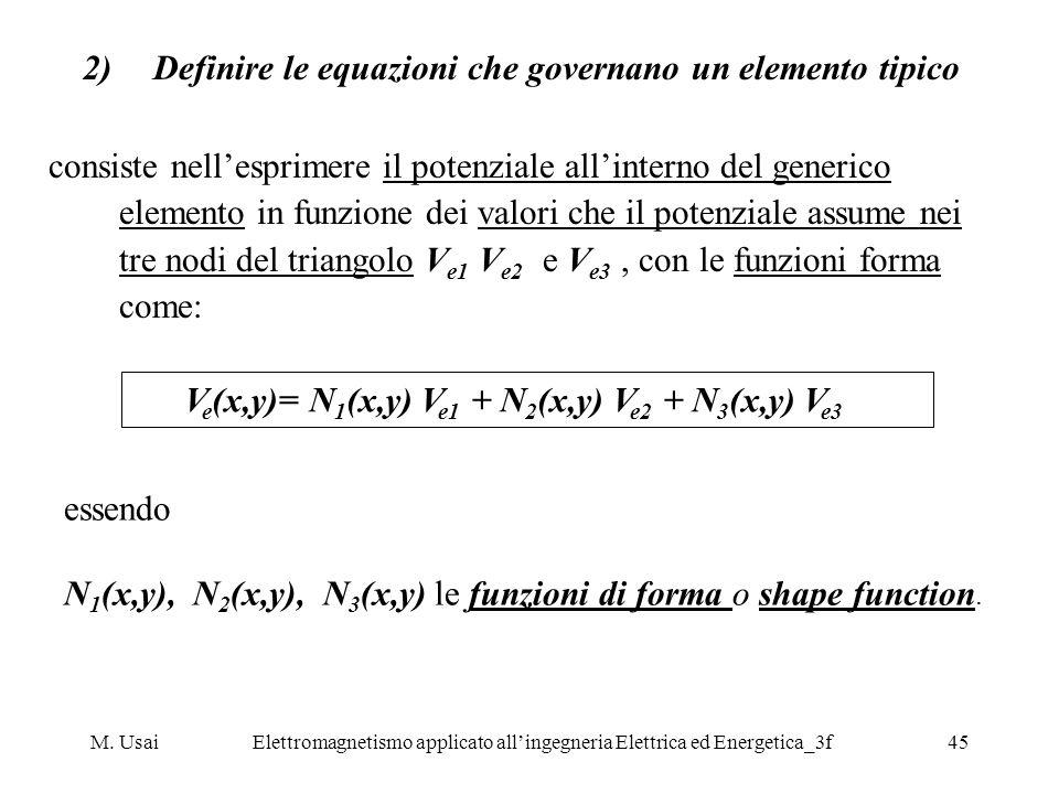 Definire le equazioni che governano un elemento tipico