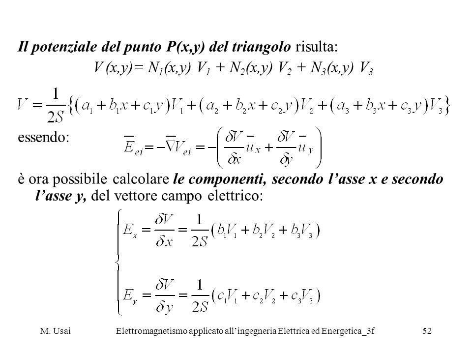 Il potenziale del punto P(x,y) del triangolo risulta: