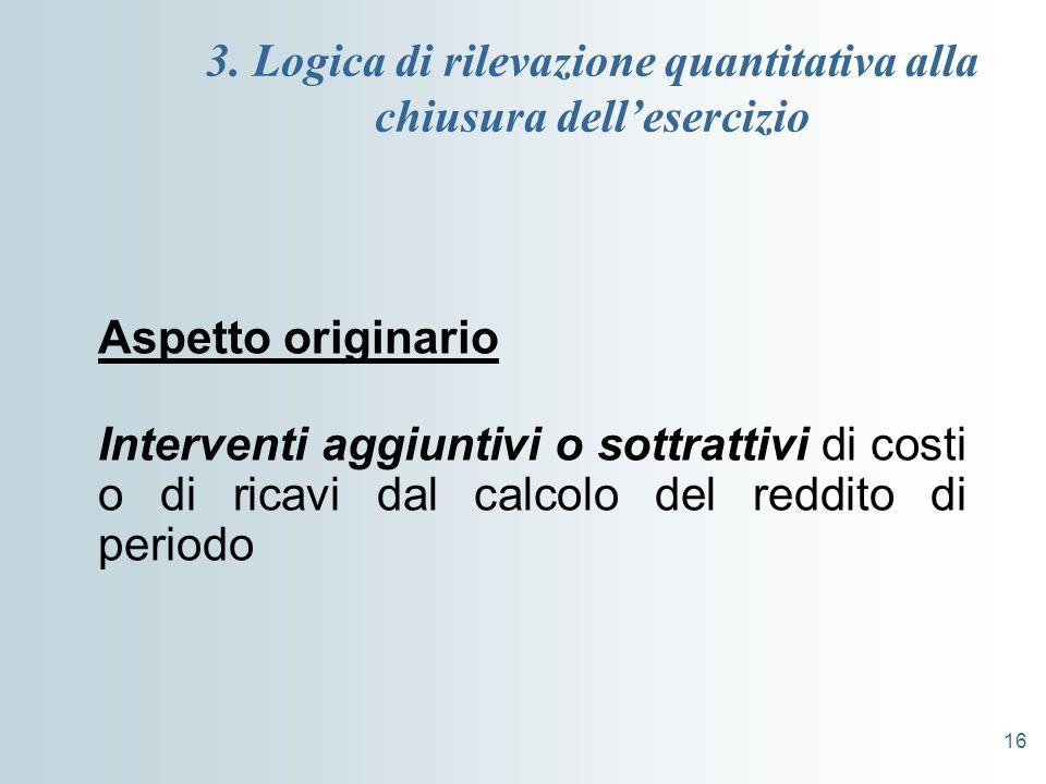 3. Logica di rilevazione quantitativa alla chiusura dell'esercizio