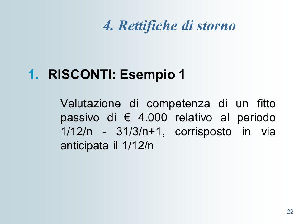 4. Rettifiche di storno RISCONTI: Esempio 1