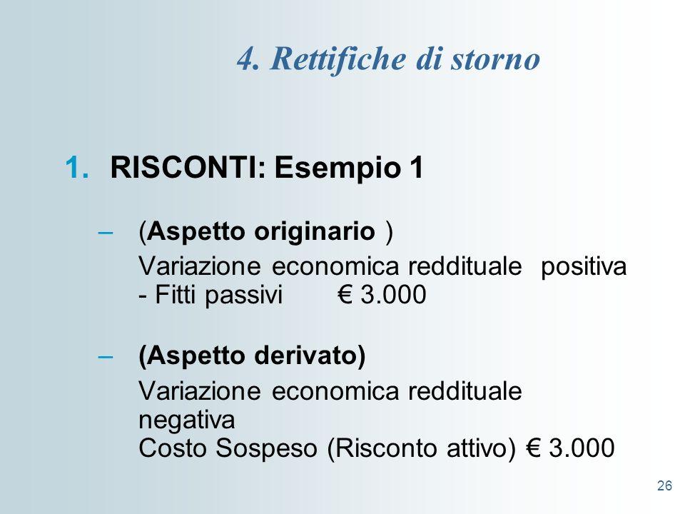 4. Rettifiche di storno RISCONTI: Esempio 1 (Aspetto originario )