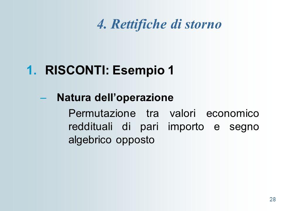 4. Rettifiche di storno RISCONTI: Esempio 1 Natura dell'operazione