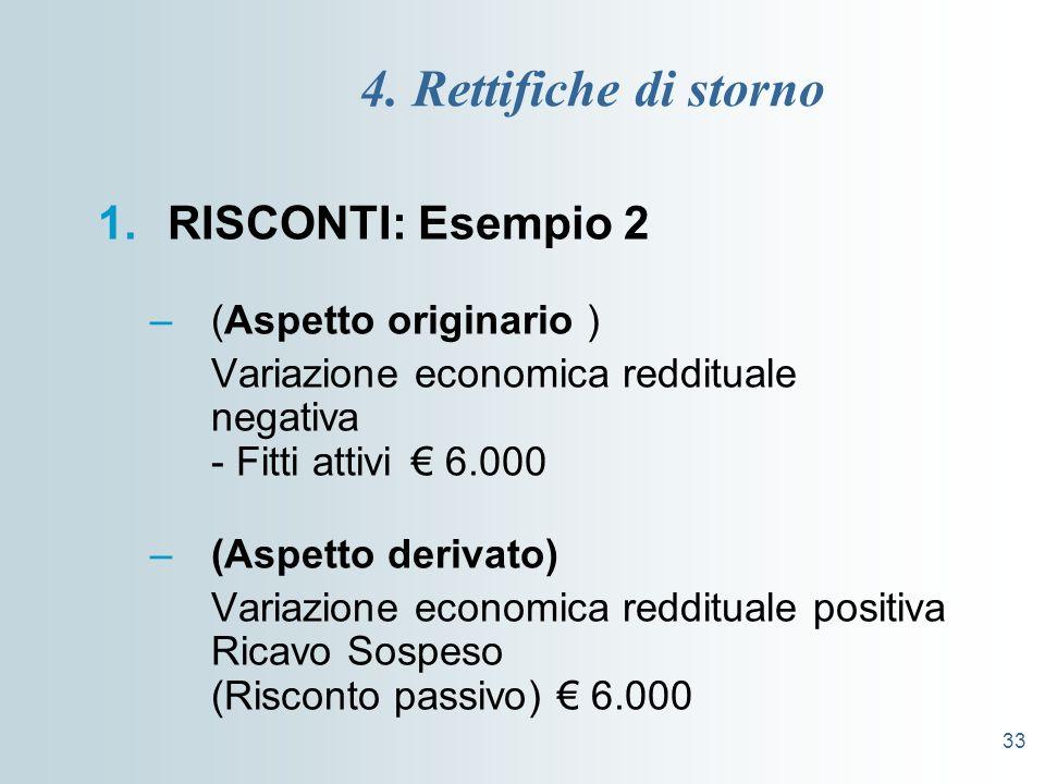 4. Rettifiche di storno RISCONTI: Esempio 2 (Aspetto originario )