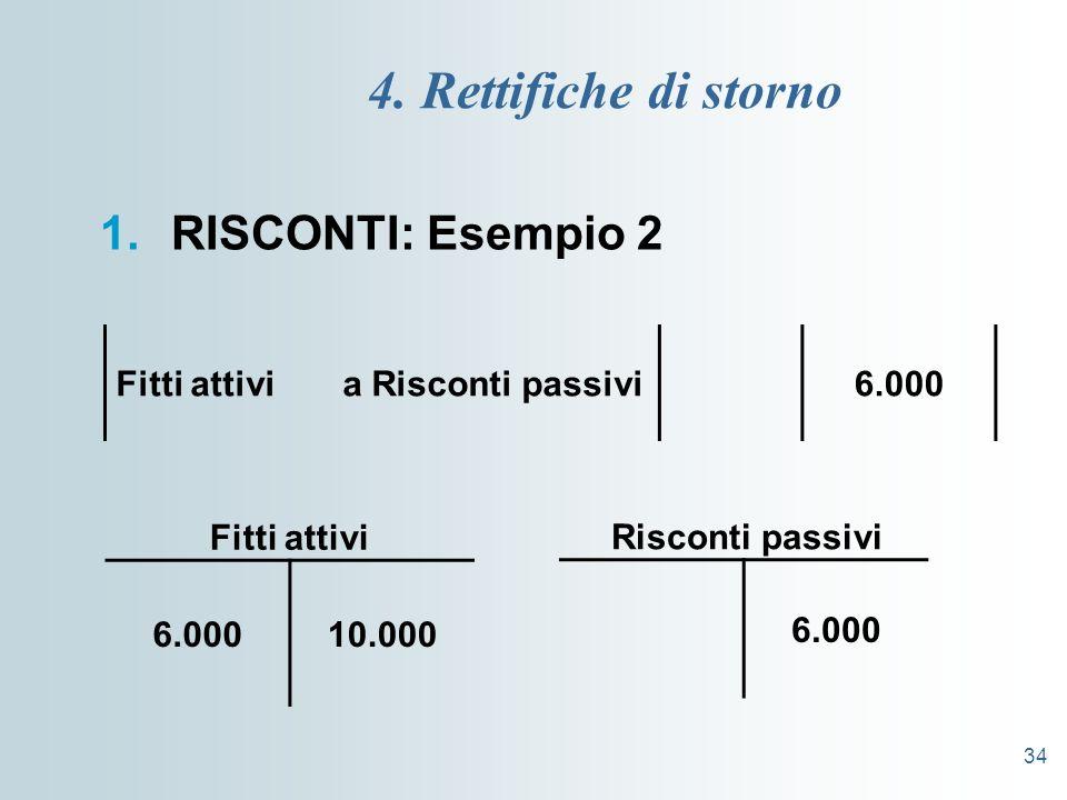 4. Rettifiche di storno RISCONTI: Esempio 2