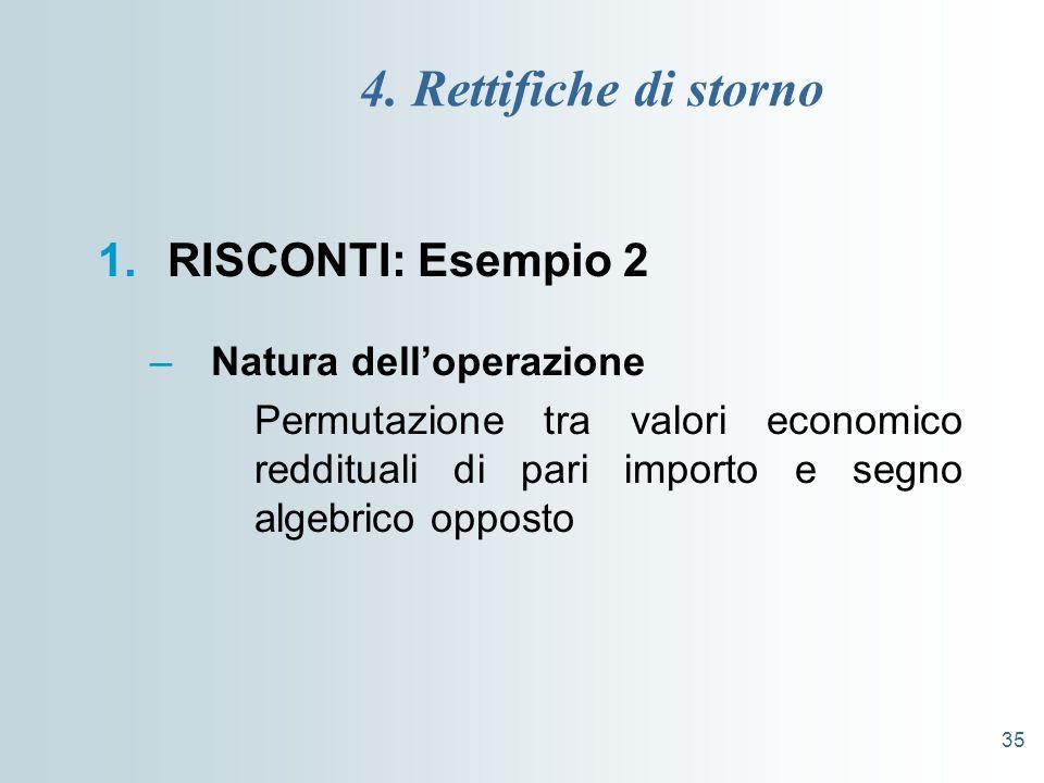 4. Rettifiche di storno RISCONTI: Esempio 2 Natura dell'operazione