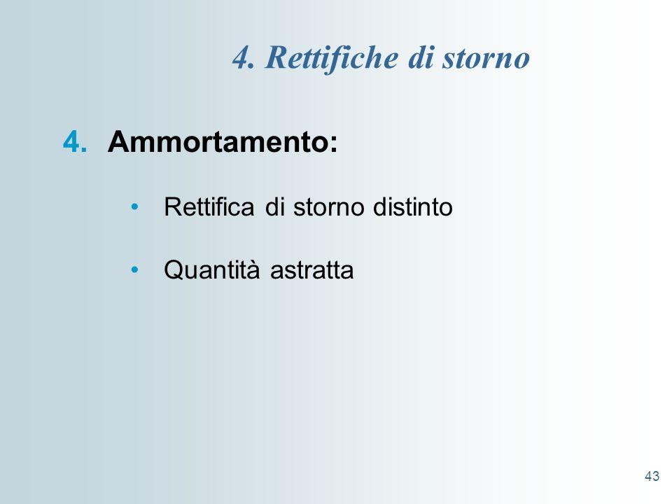 4. Rettifiche di storno Ammortamento: Rettifica di storno distinto