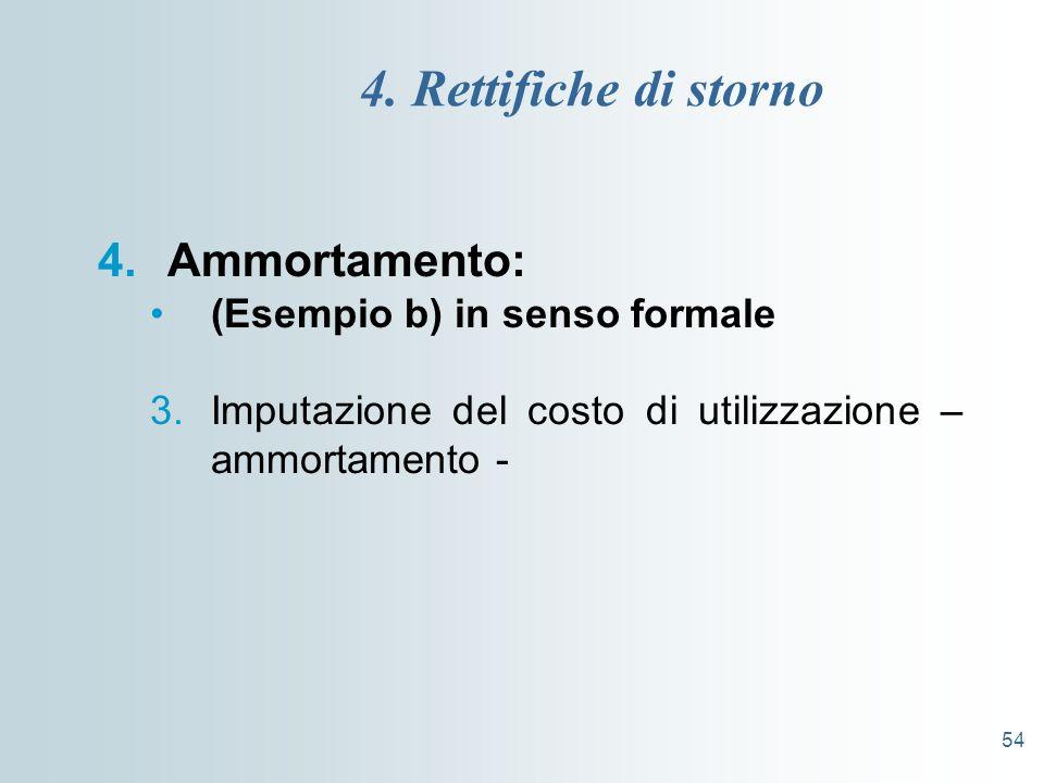 4. Rettifiche di storno Ammortamento: (Esempio b) in senso formale