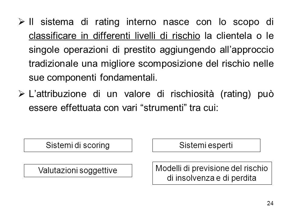 Il sistema di rating interno nasce con lo scopo di classificare in differenti livelli di rischio la clientela o le singole operazioni di prestito aggiungendo all'approccio tradizionale una migliore scomposizione del rischio nelle sue componenti fondamentali.