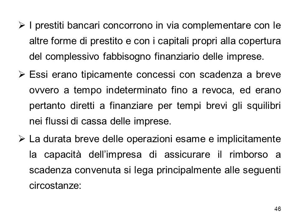 I prestiti bancari concorrono in via complementare con le altre forme di prestito e con i capitali propri alla copertura del complessivo fabbisogno finanziario delle imprese.