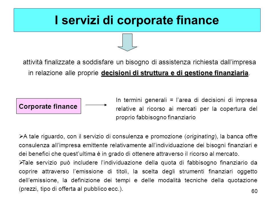 I servizi di corporate finance