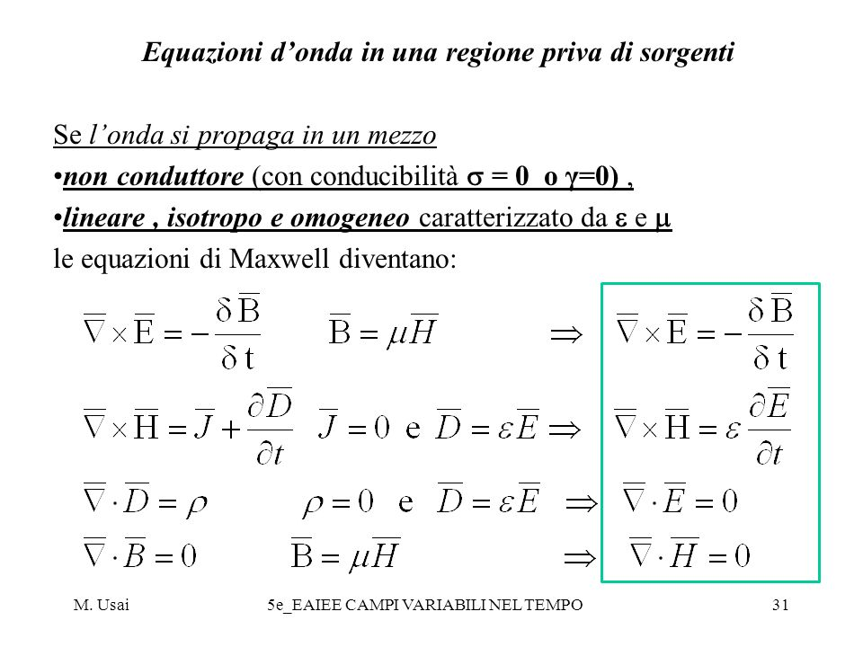 Equazioni d'onda in una regione priva di sorgenti