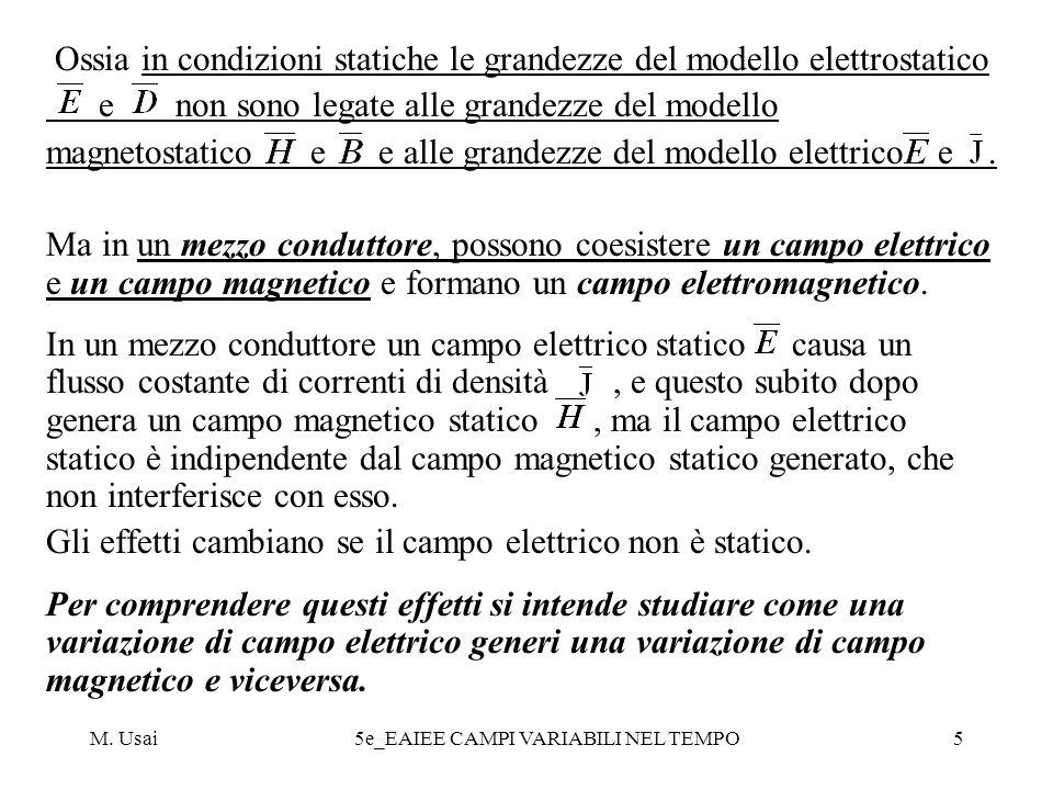 Ossia in condizioni statiche le grandezze del modello elettrostatico