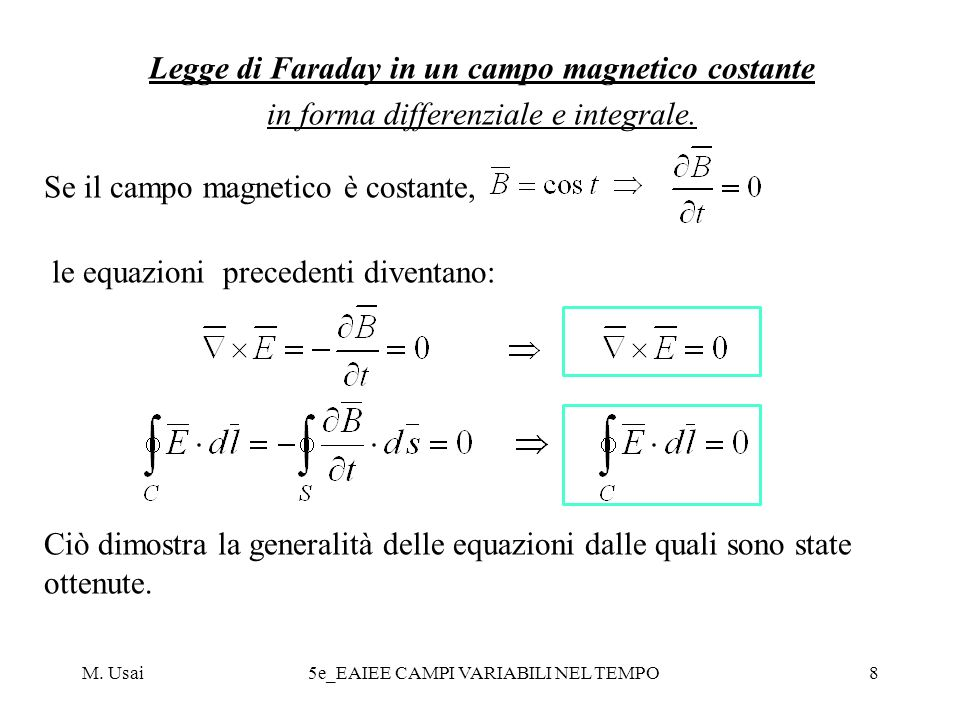 Legge di Faraday in un campo magnetico costante