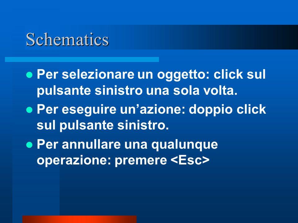 Schematics Per selezionare un oggetto: click sul pulsante sinistro una sola volta. Per eseguire un'azione: doppio click sul pulsante sinistro.