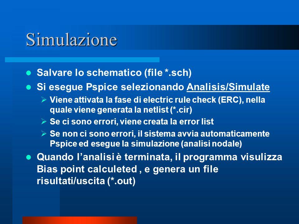 Simulazione Salvare lo schematico (file *.sch)
