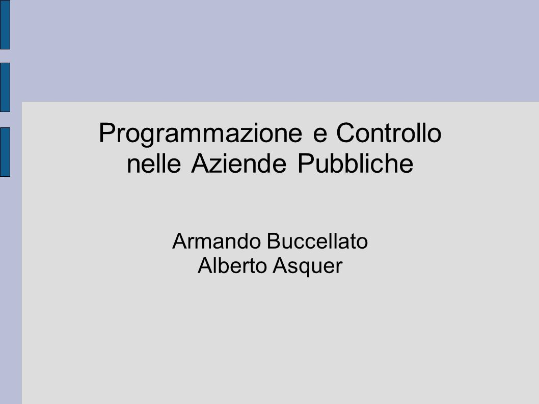 Programmazione e Controllo nelle Aziende Pubbliche