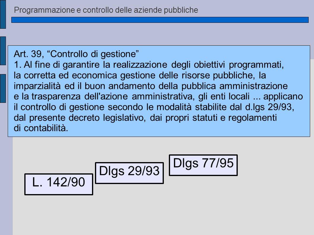 Dlgs 77/95 Dlgs 29/93 L. 142/90 Art. 39, Controllo di gestione