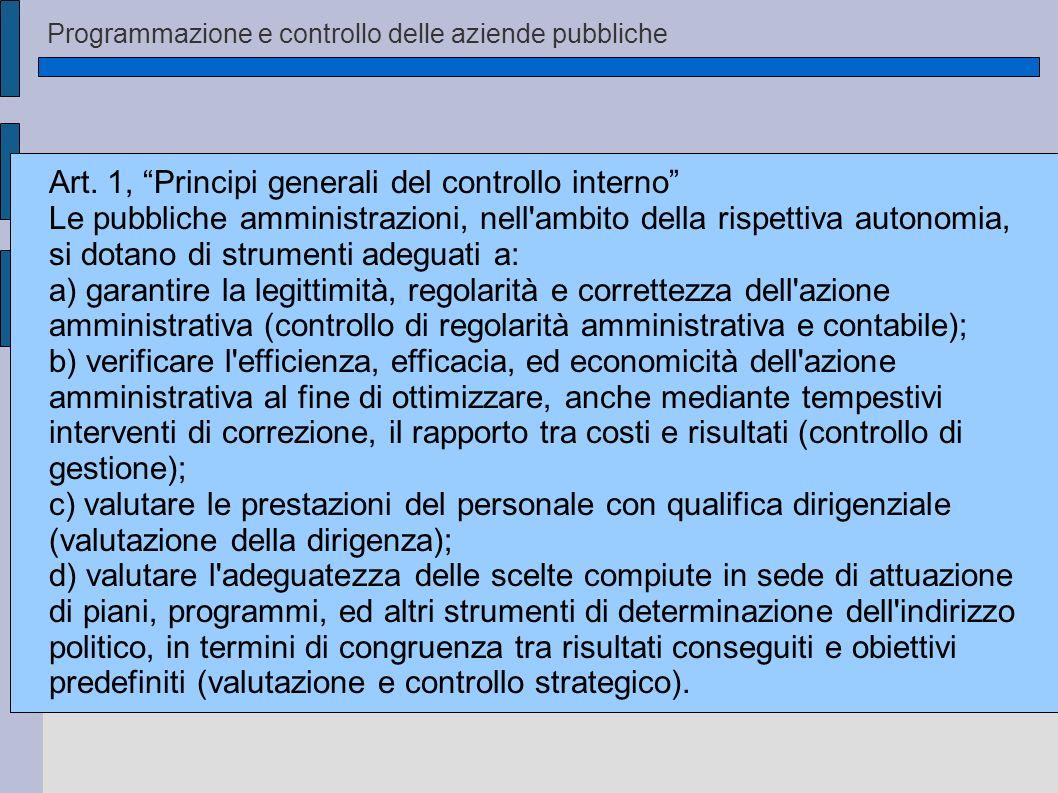 Art. 1, Principi generali del controllo interno