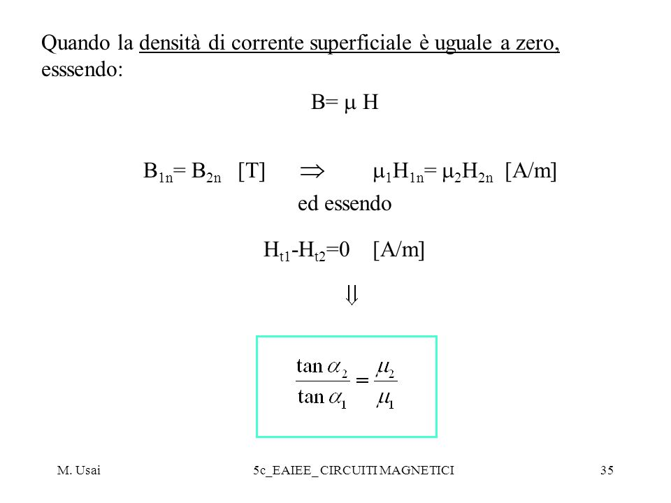 Quando la densità di corrente superficiale è uguale a zero, esssendo: