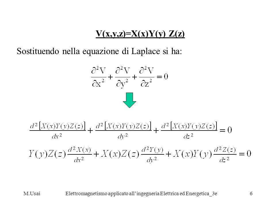 V(x,y,z)=X(x)Y(y) Z(z) Sostituendo nella equazione di Laplace si ha: