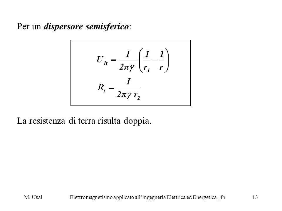 Per un dispersore semisferico: La resistenza di terra risulta doppia.