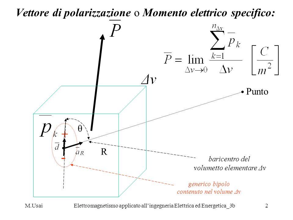 Vettore di polarizzazione o Momento elettrico specifico: