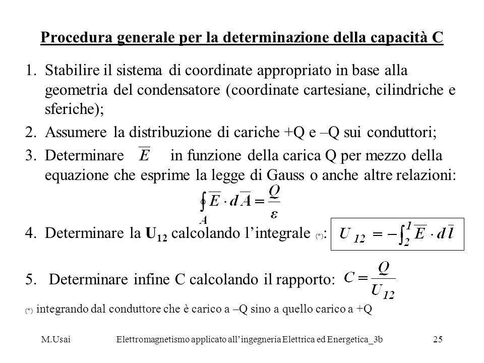 Procedura generale per la determinazione della capacità C