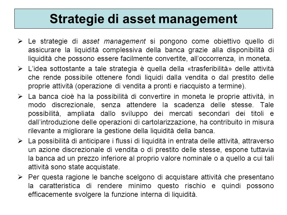 Strategie di asset management