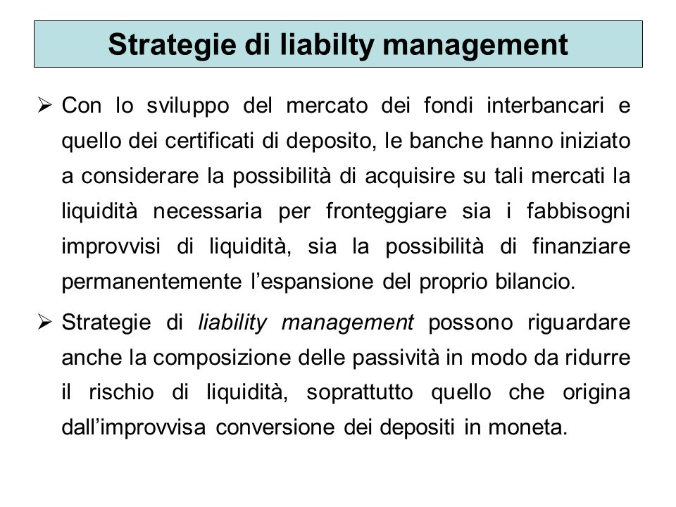 Strategie di liabilty management