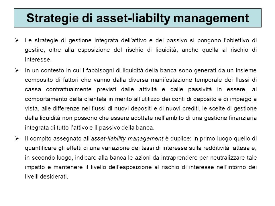 Strategie di asset-liabilty management